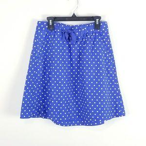 J Crew Skirt Drawstring Polka Dot Cotton Linen